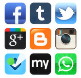Collection of popular old social media icons Stock Image
