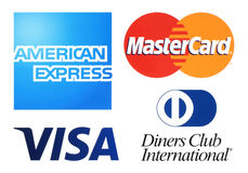 Collection of popular payment system logos. Kiev, Ukraine - April 04, 2016: Collection of popular payment system logos printed on white paper: American Express royalty free illustration