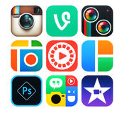 Collection of popular photo and video icons printed on paper stock illustration