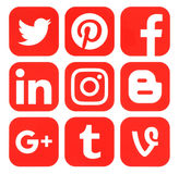 Collection of popular red social media logos. Kiev, Ukraine - September 20, 2016: Collection of popular red social media logos printed on paper: Facebook Stock Image
