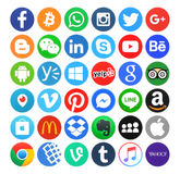 Collection of popular 36 round icons. Kiev, Ukraine - May 14, 2016: Collection of popular 36 round icons, printed on paper, of social networking, productivity Stock Photos
