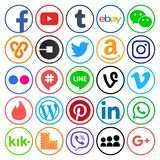 Collection of popular round social media icons. Kiev, Ukraine - September 11, 2017: Collection of popular round social media icons, printed on paper: Facebook Royalty Free Stock Photo