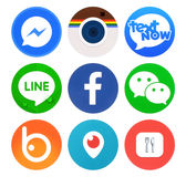 Collection of popular round social networking icons Stock Photography