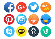 Collection of popular round social networking icons. Kiev, Ukraine - February 23, 2016: Collection of popular round social networking icons printed on paper Stock Images