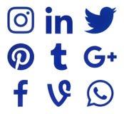 Collection of popular social media blue logos. Kiev, Ukraine - Febraury 21, 2017: Collection of popular social media blue logos printed on paper: Facebook Stock Photography