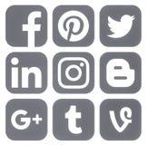 Collection of popular social media grey logos. Kiev, Ukraine - March 14, 2017: Collection of popular social media grey logos printed on paper: Facebook, Twitter Stock Photography