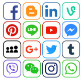 Collection of popular social media icons. Kiev, Ukraine - December 05, 2016: Collection of popular social media icons printed on paper: Facebook, Twitter, Google Stock Photos
