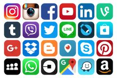 Collection of popular social media icons. Kiev, Ukraine - March 06, 2018: Collection of popular social media icons, printed on paper: Facebook, Twitter, Google stock photo
