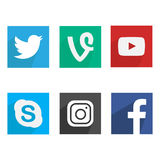 Collection of popular social media logos. Flat design. Collection of popular social media logos. Flat logo design. Facebook Twitter Google Plus Instagram MySpace Stock Photo