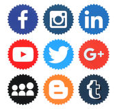 Collection of popular social media logos. Kiev, Ukraine - April 09, 2016: Collection of popular social media logos printed on paper:Facebook, Twitter, Google Royalty Free Stock Images