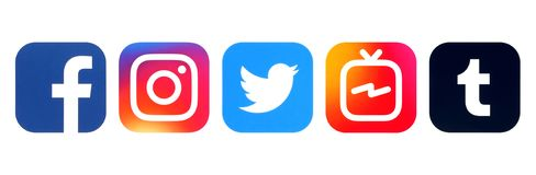 Collection of popular social media logos royalty free stock photo