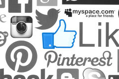 Collection of popular social media logos. KIEV, UKRAINE - June 08, 2015:Collection of popular social media logos printed on paper:Facebook, Twitter, Google Plus royalty free illustration