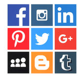 Collection of popular social media logos. Kiev, Ukraine - March 8, 2016: Collection of popular social media logos printed on paper:Facebook, Twitter, Google Plus stock illustration