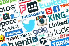 Collection of popular social media logos. KIEV, UKRAINE - MAY 20, 2015:Collection of popular social media logos printed on paper:Facebook, Twitter, Google Plus Stock Photography