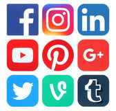 Collection of popular social media logos. Kiev, Ukraine - May 25, 2016: Collection of popular social media logos printed on paper:Facebook, Twitter, Google Plus