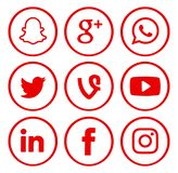 Collection of popular social media logos royalty free stock image