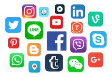 Collection of popular social media logos printed on paper Royalty Free Stock Images
