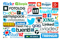Collection of popular social media logos printed on paper. KIEV, UKRAINE - MAY 20, 2015:Collection of popular social media logos printed on paper:Facebook stock illustration