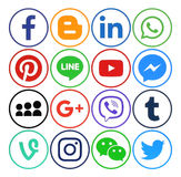 Collection of popular social media round icons. Kiev, Ukraine - December 05, 2016: Collection of popular social media round icons printed on paper: Facebook royalty free illustration