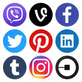 Collection of popular social media round logos Stock Photography