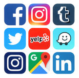 Collection of popular social media, travel and navigation logos. Kiev, Ukraine - July 25, 2016: Collection of popular social media, travel and navigation logos royalty free illustration