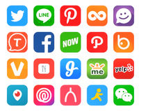 Collection of popular 20 social networking icons Royalty Free Stock Photo