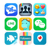 Collection of popular social networking icons Royalty Free Stock Photo