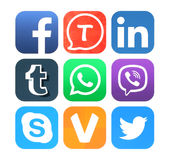 Collection of popular social networking icons printed on paper Royalty Free Stock Images