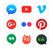 Collection of popular social networking and video logo signs. Kiev, Ukraine - February 16, 2016: Collection of popular social networking and video logo signs Royalty Free Stock Image