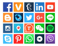 Collection of popular 20 square social media icons. Kiev, Ukraine - March 24, 2016: Collection of popular 20 square social media icons printed on paper:Facebook