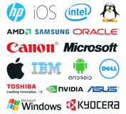 Collection of popular technology logos. Kiev, Ukraine - January 11, 2016: Collection of popular technology logos printed on white paper: HP, IOS, intel, linux stock illustration