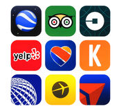 Collection of popular travel icons printed on paper Royalty Free Stock Images