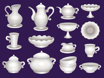 Collection of porcelain tableware Royalty Free Stock Images