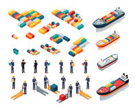Collection of Port Warehouse Isometric Icons. Set of sea port warehouse icons. Isometric projection. Cargo ships, color steel containers, workers in helmets with Royalty Free Stock Photo