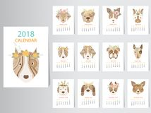 Collection of portrait dog calendar 2018 design. Collection of portrait dog calendar 2018 design,The year of the dog monthly cards templates,Set of 12 month Stock Image