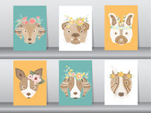 Collection of portrait dog with flower floral wreath,boho,Vector illustrations Stock Photos
