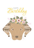 Collection of portrait dog with flower floral wreath,Design for birthday cards,Vector illustrations Royalty Free Stock Photo
