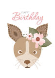 Collection of portrait dog with flower floral wreath,Design for birthday cards,Vector illustrations Royalty Free Stock Images