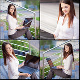 Collection portraits. Of a beautiful business woman royalty free stock photography