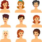 Collection of portraits beautiful pin up girls Stock Photos