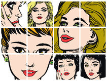 Collection of portraits blondes and brunettes Royalty Free Stock Photography