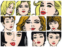 Collection of portraits blondes and brunettes Royalty Free Stock Image
