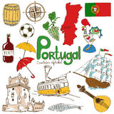 Collection of Portugal icons. Fun colorful sketch collection of Portugal icons, countries alphabet Stock Image