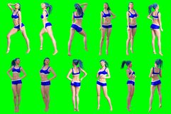 Collection of poses of young female figures vector illustration