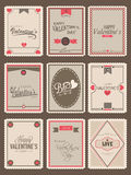 Collection of postage stamp for Valentines Day. Collection of love vintage postage stamps for Happy Valentines Day celebration Stock Photos
