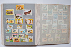 Collection of postage stamps in album from Equatorial Guinea, Bu Stock Photo