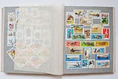 Collection of postage stamps in album from Mongolia, Hungary and Royalty Free Stock Images