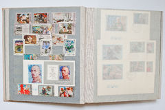 Collection of postage stamps in album printed from USSR Stock Photos