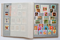 Collection of postage stamps in album from  Republic of Bulgaria Stock Image