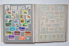Collection of postage stamps in album from Vietnam Royalty Free Stock Image